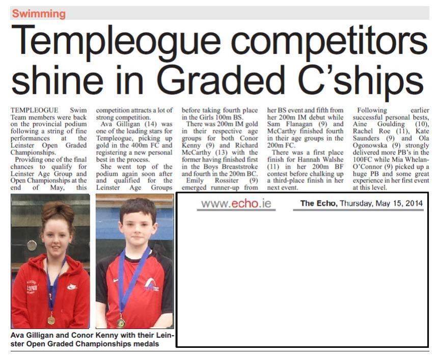 TEAM TSC Athletes report in The ECHO - Great results for the TEAM